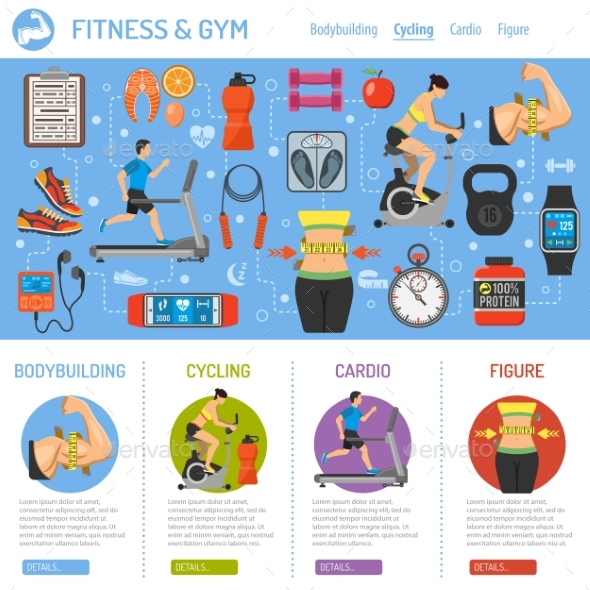 Fitness and gym infographics by talex graphicriver