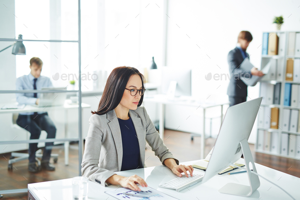 Secretary by computer - Stock Photo - Images