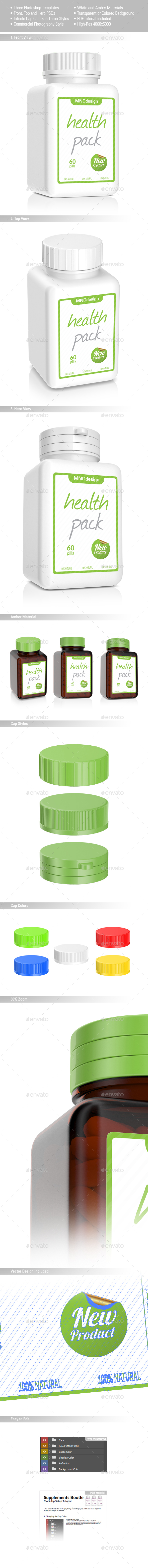 Pills Square Bottle Mockup