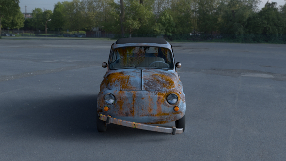 Fiat 500 Nuova 1957 with interior rusty HDRI - 3DOcean Item for Sale