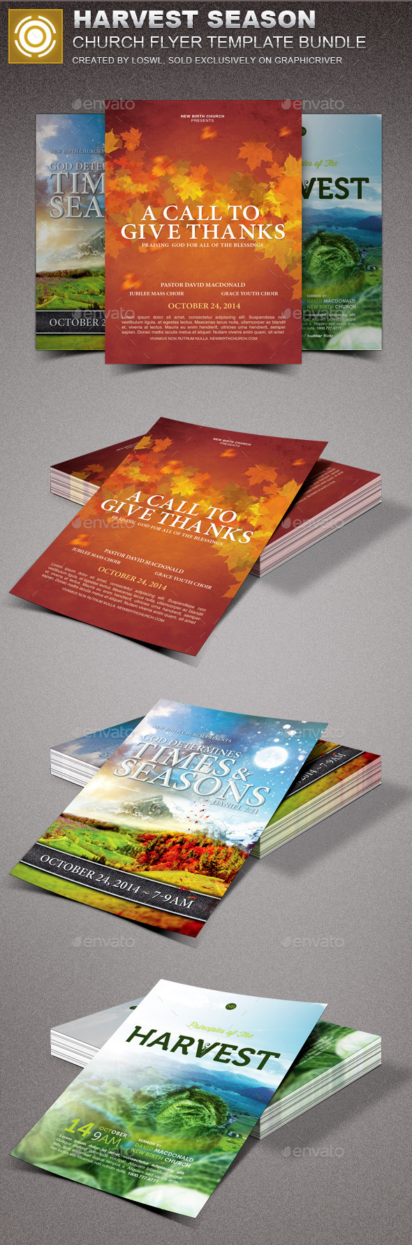 Harvest Season Church Flyer Template Bundle - Church Flyers