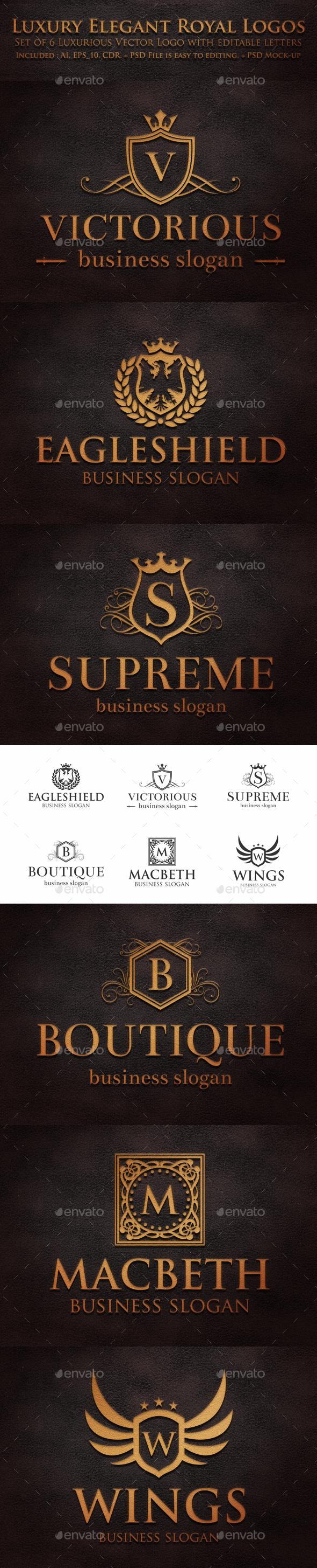 Luxury Elegant Royal Logos   Badges U0026 Stickers Web Elements
