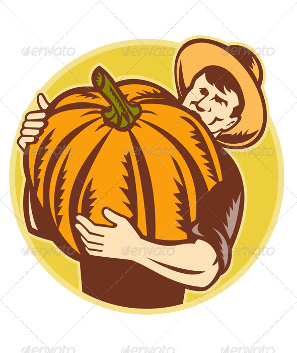 Organic Farmer With Giant Pumpkin - People Characters