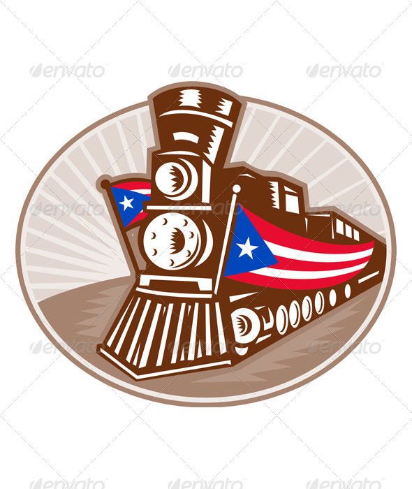 Steam Train Locomotive With American Flag - Industries Business
