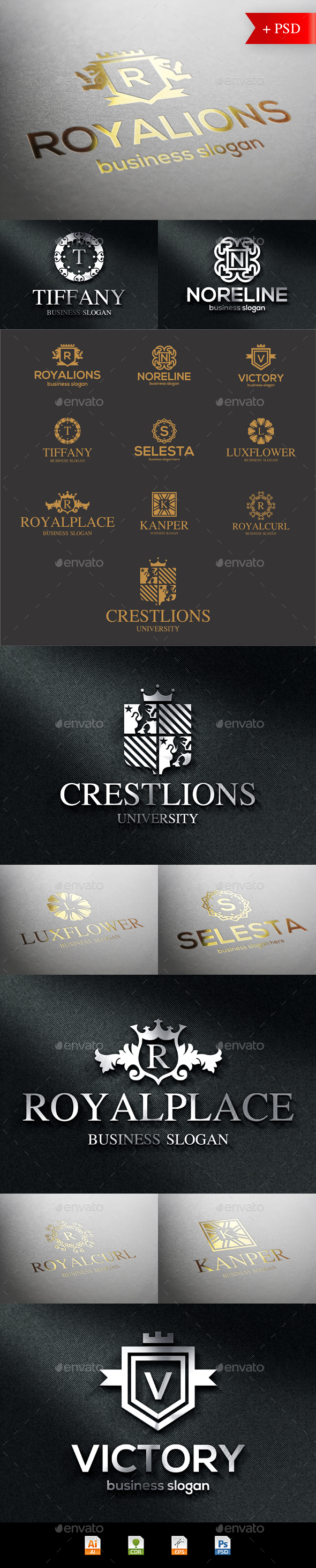 Crest Badge Boutique Luxury Logo Emblems - Badges & Stickers Web Elements