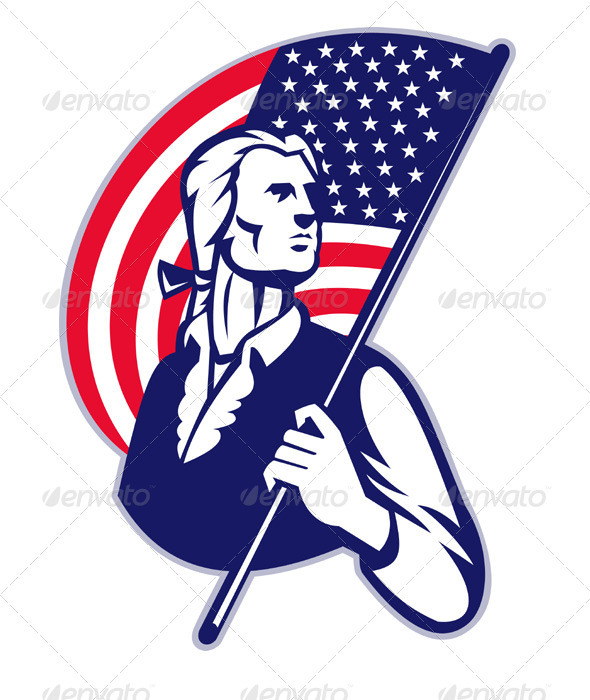 Patriot Minuteman With American Stars and Stripes  - People Characters
