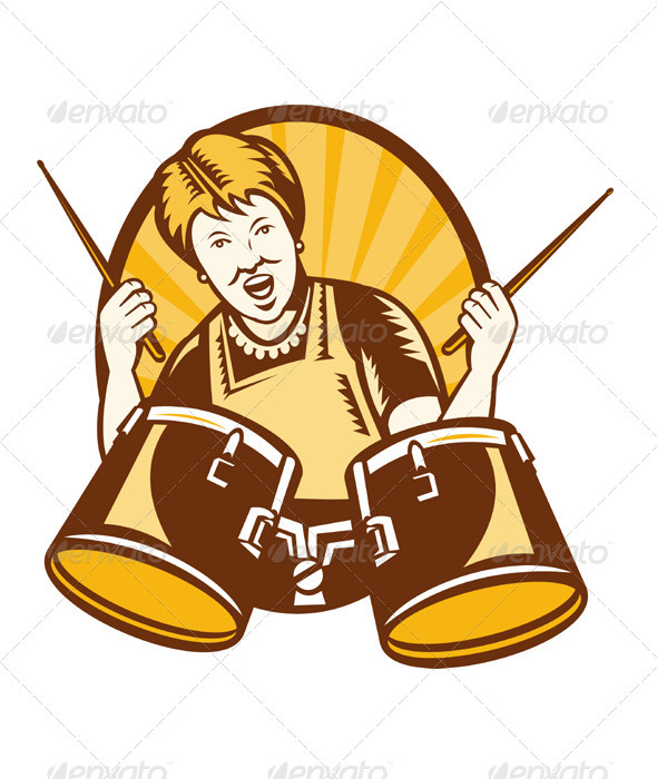 Granny Playing The Drums Retro Woodcut - People Characters