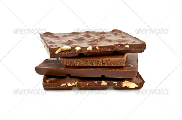Chocolate various pieces of broken - Stock Photo - Images