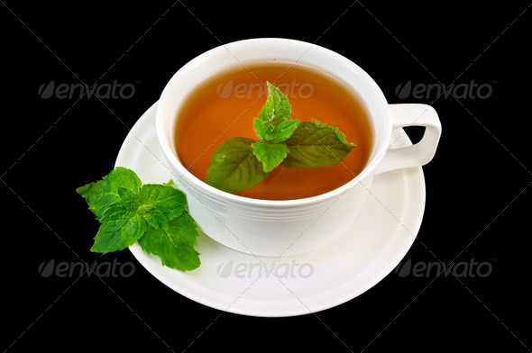 Herbal tea with mint sprigs of two - Stock Photo - Images