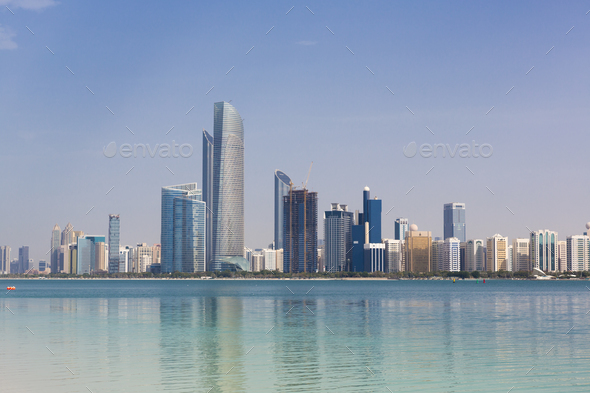 Daylight Abu Dhabi Skyline with skyscrapers - Stock Photo - Images