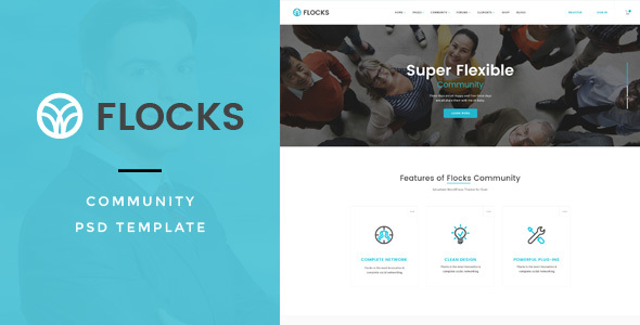 Flocks : Social Community PSD Template