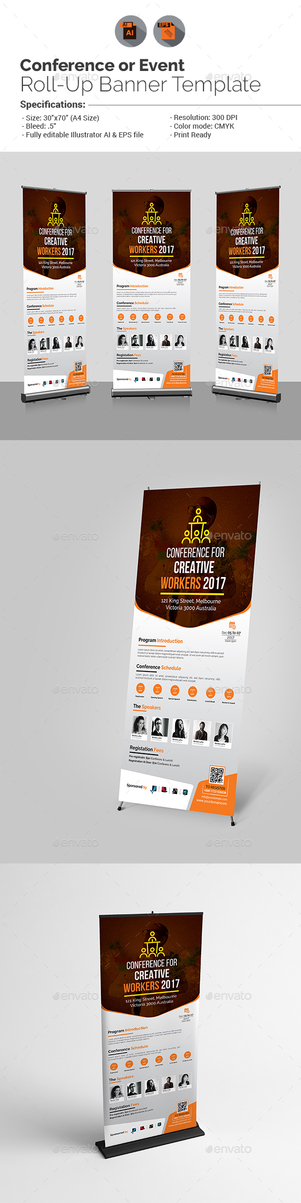 Conference/Event Roll-Up Banner Template - Signage Print Templates