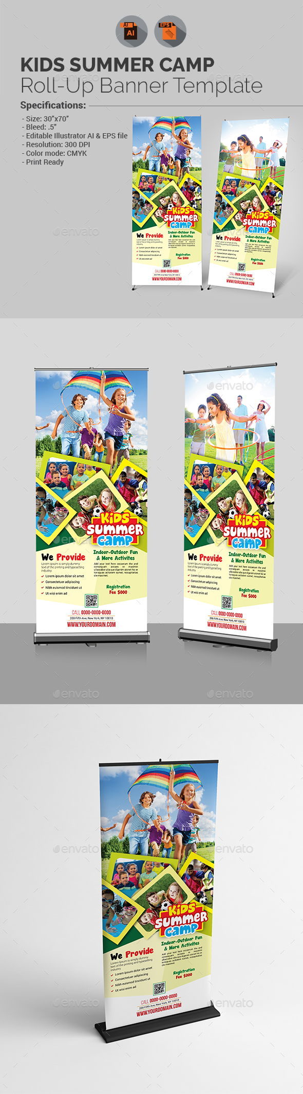 Kids Summer Camp Roll-up Banner Template