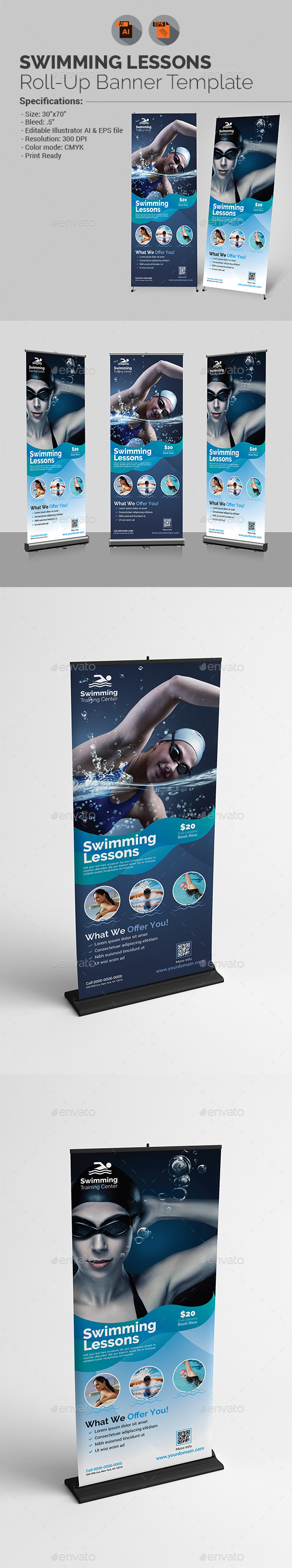Swimming Lessons Roll-Up Banner Template - Signage Print Templates