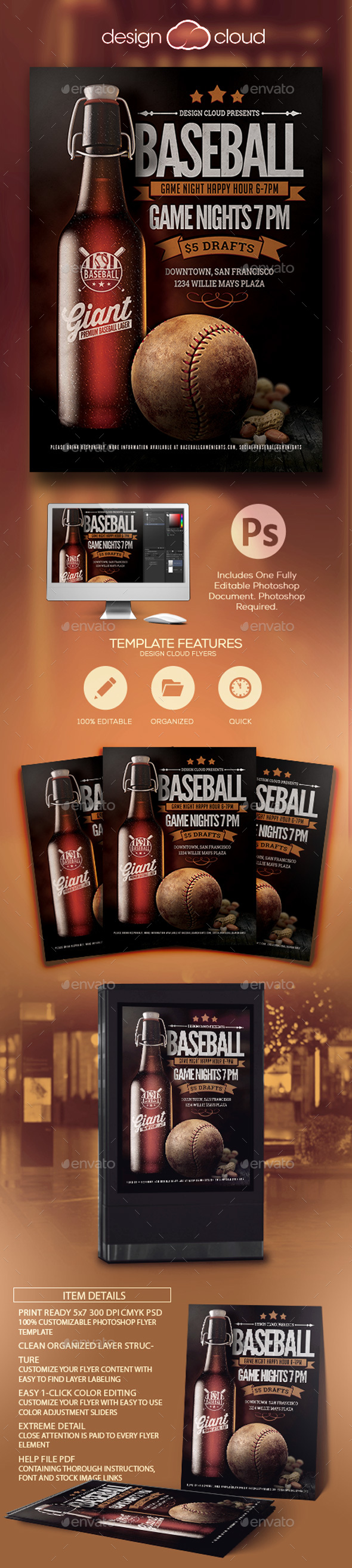 Baseball Sports Bar Promo Flyer Template - Sports Events