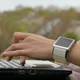 Woman`s Hands Typing On A Laptop Keyboard Outdoors - VideoHive Item for Sale