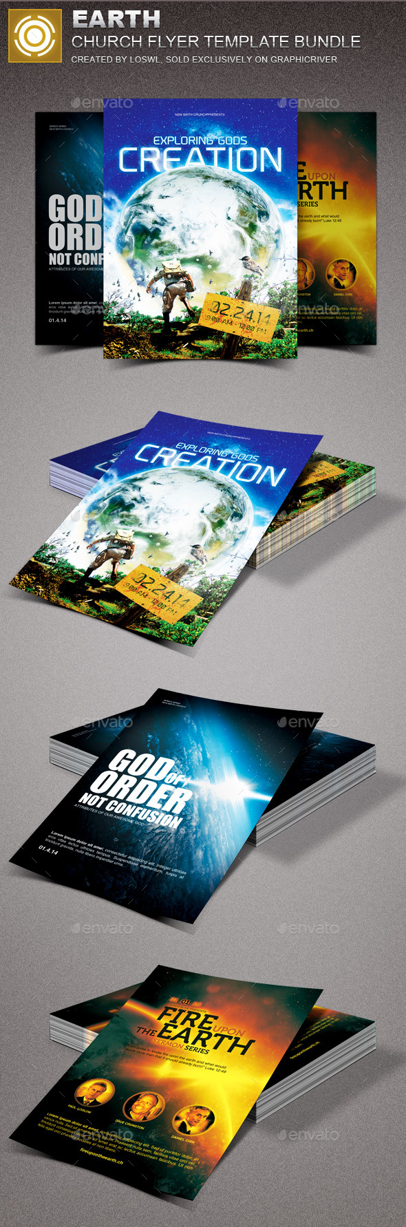 Earth Church Marketing Flyer Template Bundle - Church Flyers
