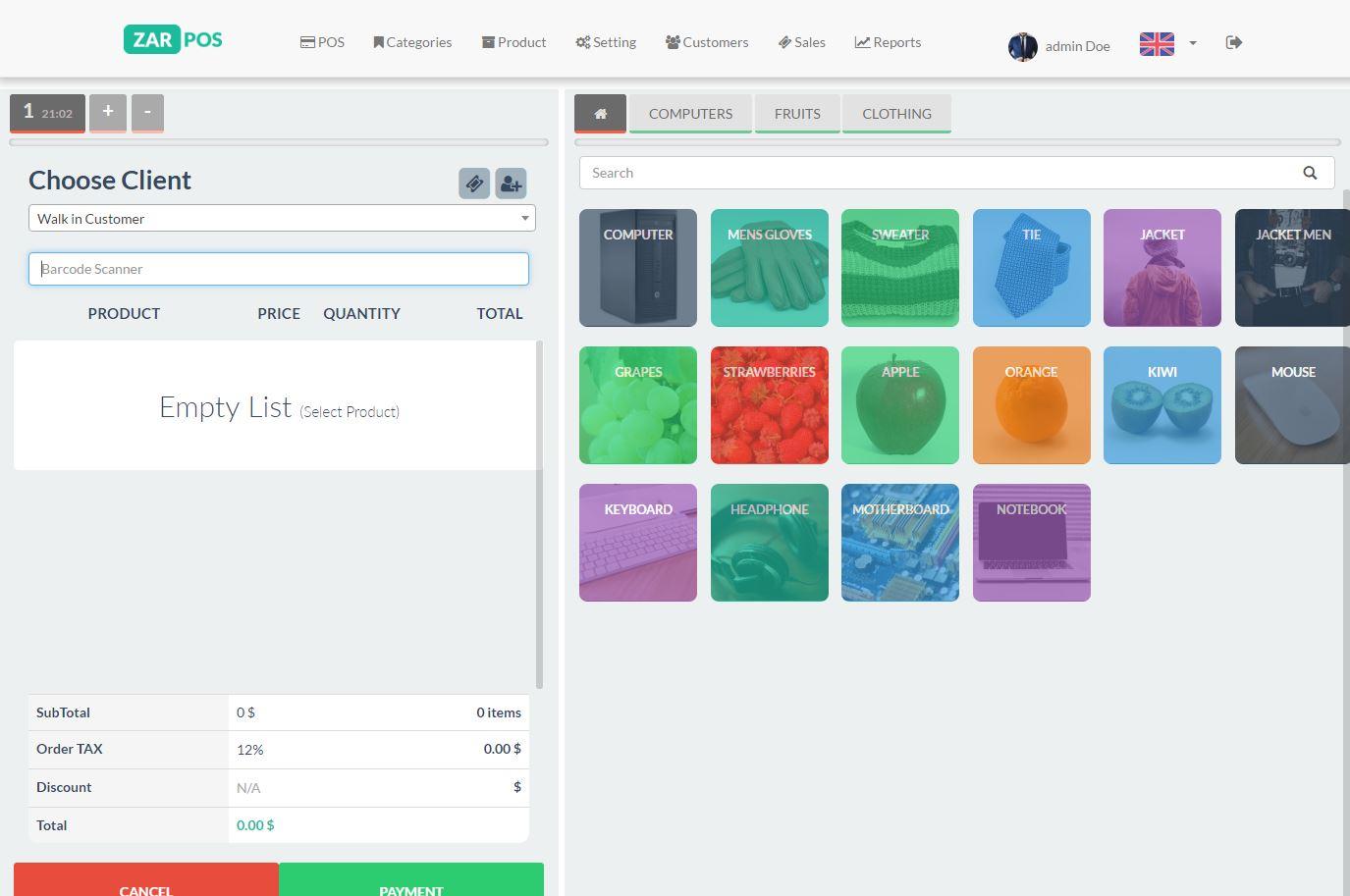Zar Pos Point Of Sale Web Application By Dar Elweb