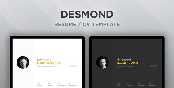 Desmond: Resume / CV HTML Template - Resume / CV Specialty Pages
