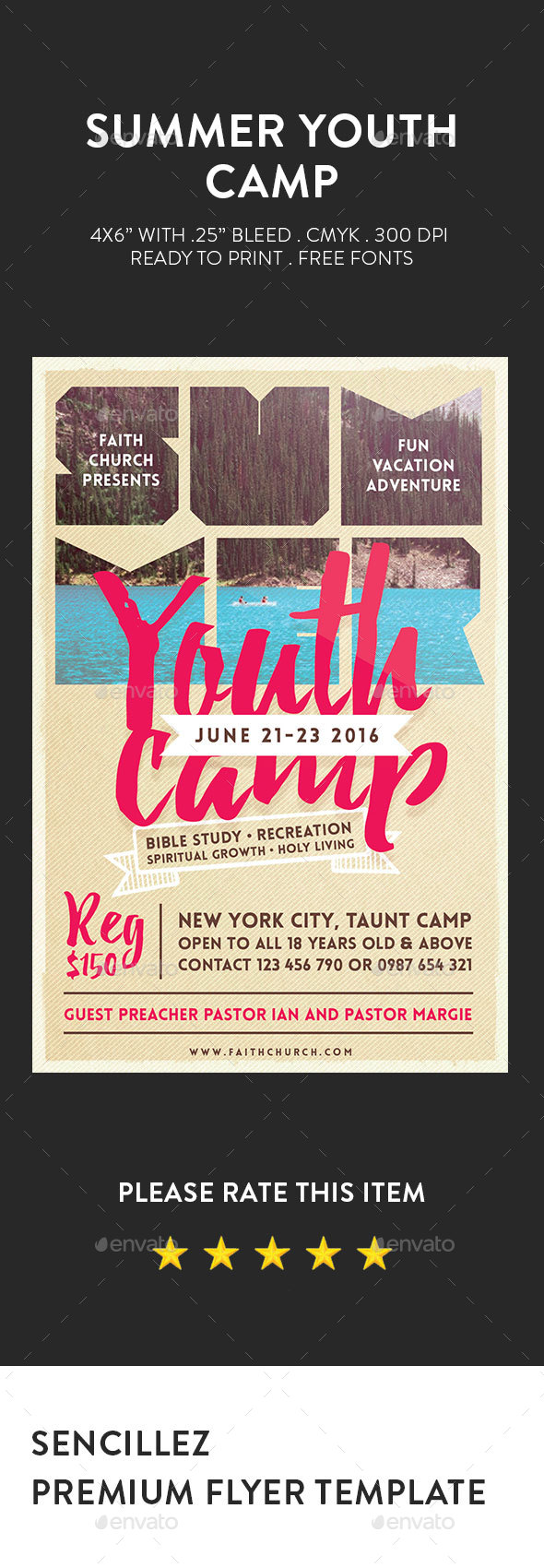 Summer Youth Camp Flyer - Church Flyers