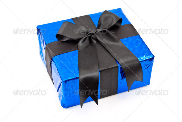 Gift box with black bow - Stock Photo - Images