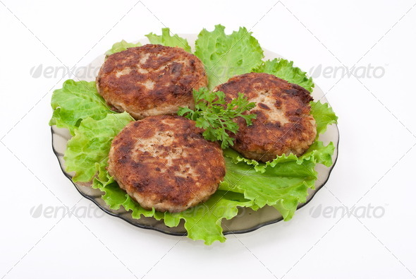 Cutlets with salad leaves - Stock Photo - Images
