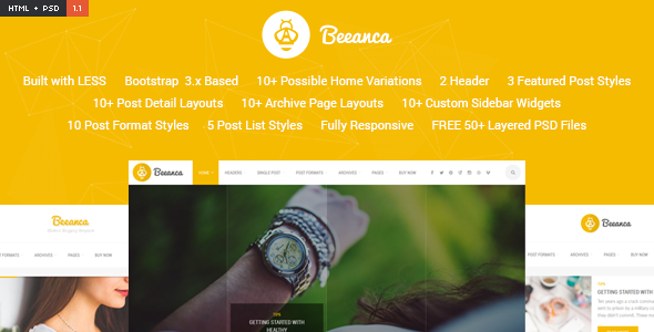 Beeanca HTML - Modern Blogging Template - Personal Site Templates