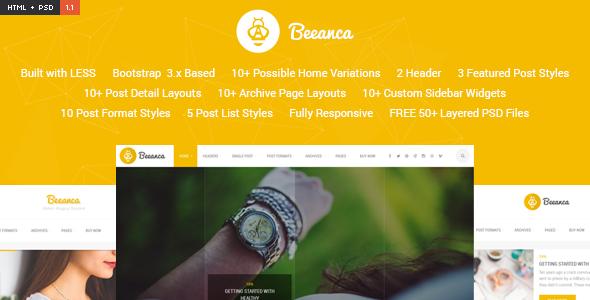 Beeanca HTML – Modern Blogging Template
