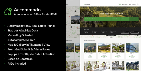 Accommodo – Accommodation / Real Estate / Travel HTML Template Portal