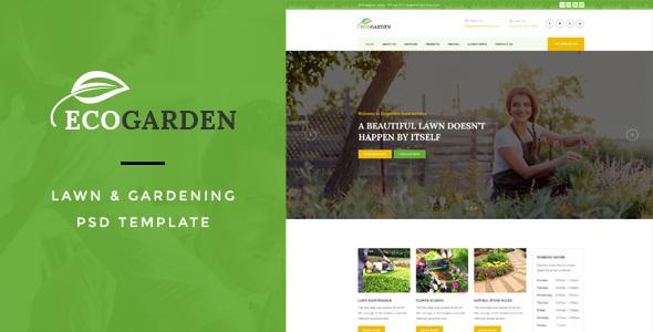 Eco Garden : Lawn & Gardening PSD Template