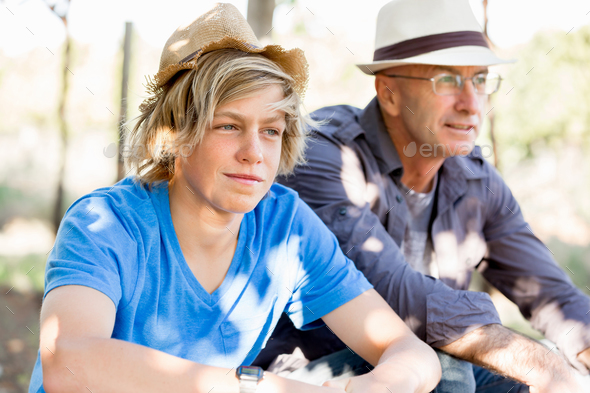 Father and son in vineyard - Stock Photo - Images