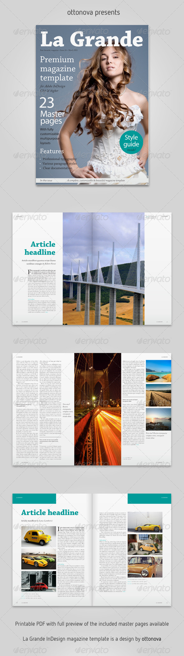 La Grande InDesign magazine template by ottonova | GraphicRiver