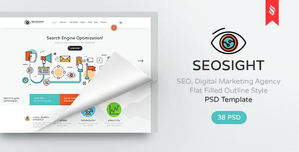Seosight - SEO, Digital Marketing Agency PSD Template - PSD Templates