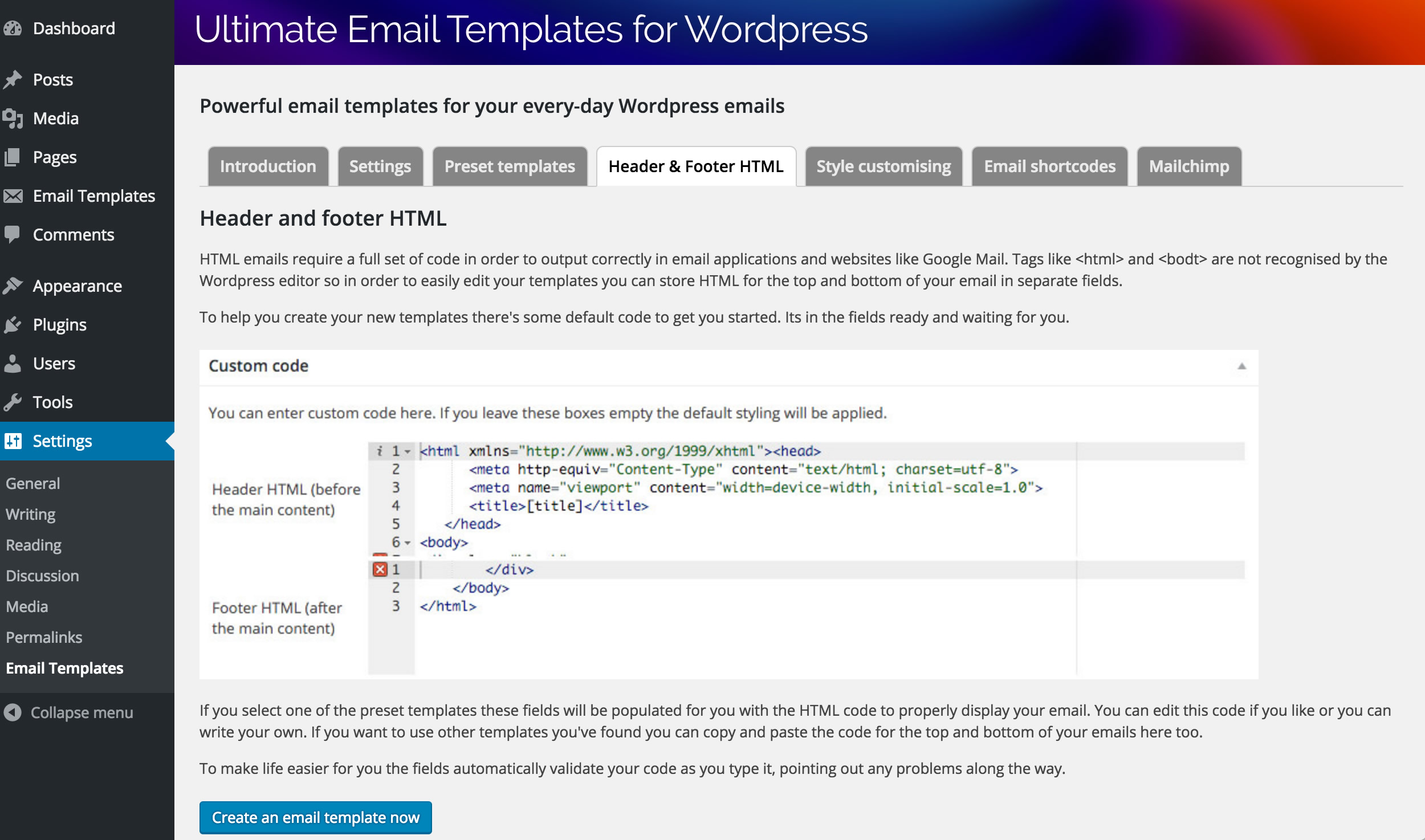 html header menu templates - ultimate email template system for wordpress by