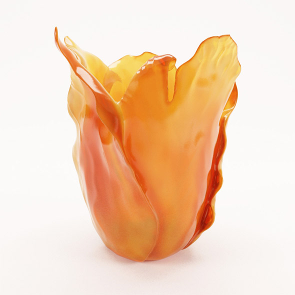 Daum Amber Tulip vase - 3DOcean Item for Sale