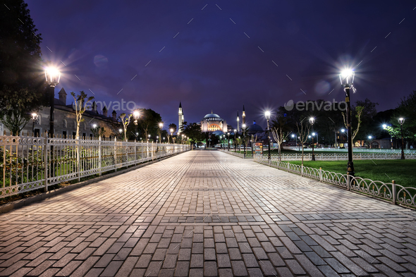 Walk to the Sultan Ahmed Mosque - Stock Photo - Images