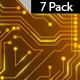 Golden Electric Circuit Board Animated Background-7 Pack - VideoHive Item for Sale