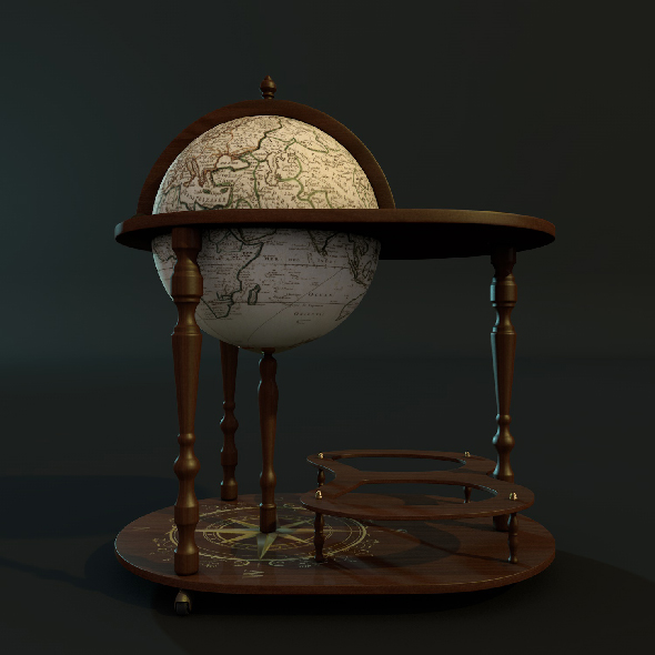 Globe bar with table - 3DOcean Item for Sale