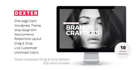 DEXTER - Multipurpose One Page Slant WP Theme - Portfolio Creative