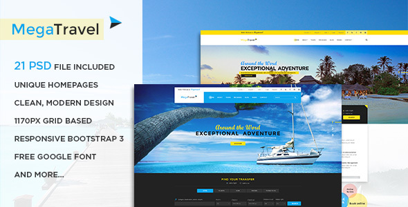 MegaTravel - Premium Tours and Travel PSD Template
