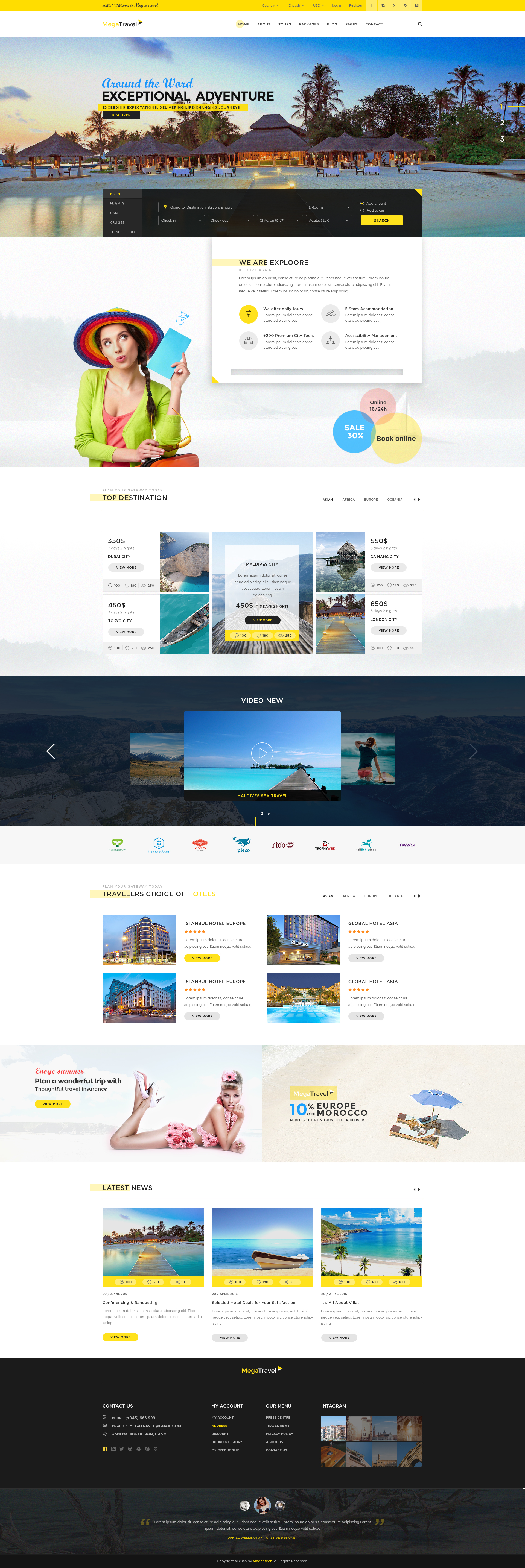 Megatravel Premium Tours And Travel Psd Template By Magentech