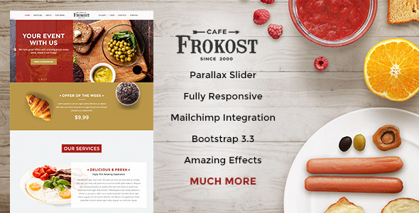 Frokost - Restaurant / Cafe One Page HTML5 - Restaurants & Cafes Entertainment