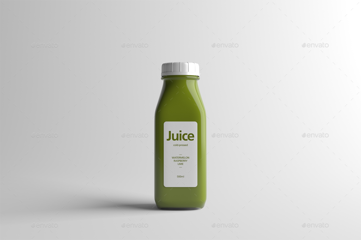 Juice bottle packaging mock up by zeisla graphicriver for Envato graphicriver