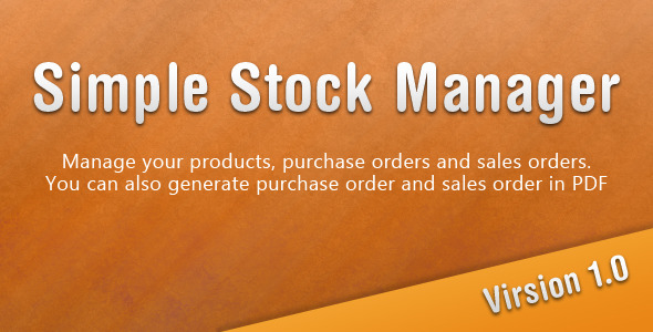 Simple Stock Manager - CodeCanyon Item for Sale