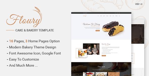 Floury – Cake & Bakery PSD Template