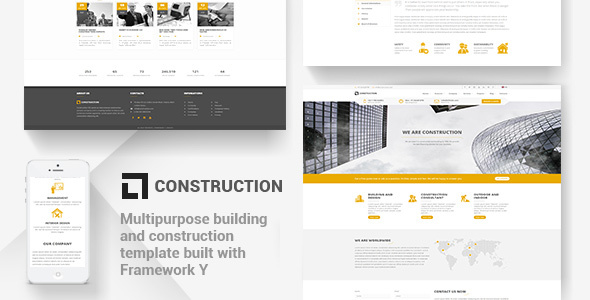 Construction - Building Template with Modular Framework - Business Corporate