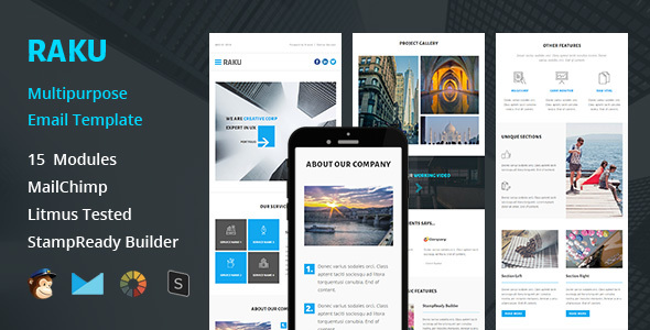 RAKU – Multipurpose Responsive Email Template + Stampready Builder