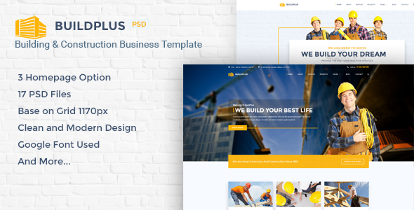 BuildPlus – Building & Construction Business PSD Template