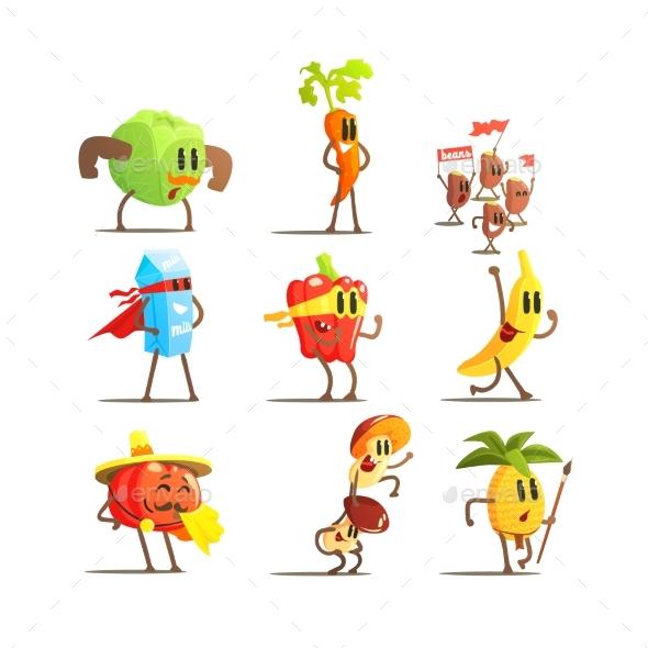 Healthy Food Cartoon Characters Set - Food Objects