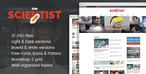 The Scientist - Science, Research and Innovations magazine - Miscellaneous PSD Templates